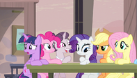 Sugar Belle about to take Mane Six's order S5E1
