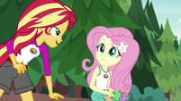 Sunset Shimmer appears next to Fluttershy EG4