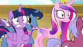 Twilight's parents rushing past her and Cadance S7E22.png