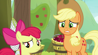 Applejack looking worried at Big Mac S9E10
