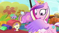 Cadance blocks Flurry Heart's magic with her wing S7E22