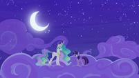 Crescent moon over Twilight and Celestia S8E7