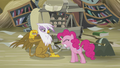 Gilda pulls away the scone before Pinkie bites it S5E8.png