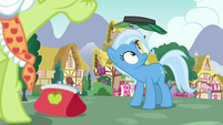 Jeweler Pony's visor sails over Trixie's head S7E2