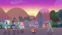 Mane Six and Wallflower look at Sunset EGFF