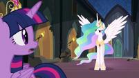 Princess Celestia begins to speak to Nightmare Moon S4E2