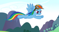 Rainbow Dash flying above the Parasprites S01E10