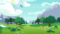 Rainbow Dash flying up into the sky S9E22