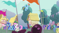 Rainbow Dash hovering over the crowd S4E16
