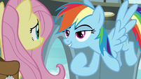 Rainbow Dash pointing at herself S9E21