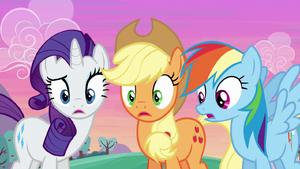 Rarity, Applejack, and Rainbow surprised S6E14