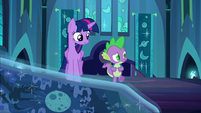 Tapestry levitated in front of Twilight and Spike S5E26