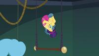 Trapeze star tumbling through the air S6E20