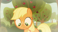 Young Applejack looking downward S9E10