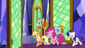 AJ, Rockhoof, Pinkie, and Rarity leave the throne room S7E26.png