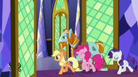 AJ, Rockhoof, Pinkie, and Rarity leave the throne room S7E26