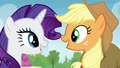 AJ and Rarity talking at the same time S4E22.png