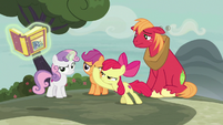 Apple Bloom smacks the fairy tale book away S7E8