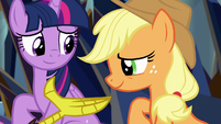 Applejack listening to Discord's speech S9E2