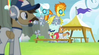 Cloudsdale team looking at Rainbow Dash S4E10