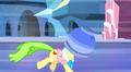 Ms. Peachbottom running terrifiedly away with flowerpot on her head S3E12.png