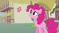 Pinkie looking at magical arrow S3E5