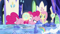 Pinkie looks at image of Somnambula's blindfold S7E25