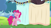 Pinkie stands by a curtain S5E11