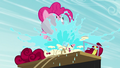 Pinkie throwing a bucket of water at Cherry S5E11.png