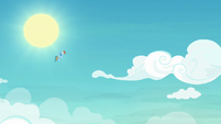Rainbow Dash hovering high in the sky S8E5
