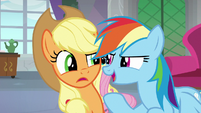 Rainbow Dash interrupting Applejack S8E9