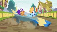 Rainbow Dash losing control of the cart S6E14