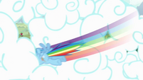Rainbow Dash punching through clouds S4 Opening