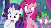 Rarity, Pinkie, and Spike shocked by Twilight's words S8E2