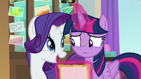 "Rarity ""I didn't use the school funds"" S8E16"