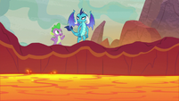Spike and Ember at the lava pool's edge S9E9