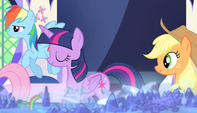 Twilight and friends leaving the throne room S5E1