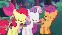 Apple Bloom and Sweetie Belle agree with Scootaloo S6E14