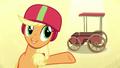 Applejack presenting her Derby cart S6E14.png