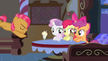 Babs leaping towards CMC's table S3E04.png