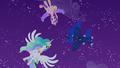 Celestia, Luna, and Cadance hover over Twilight S4E25.png
