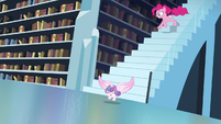 Flurry Heart flying down the stair while Pinkie chases her S6E2