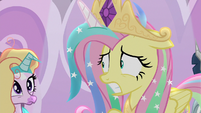 Fluttershy looking nervous in the spotlight S8E7