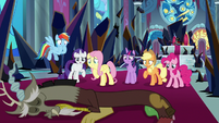 Mane Six standing over lifeless Discord S9E2
