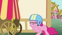 Pinkie Pie puts on a helmet S5E19