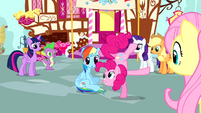 Pinkie Pie standing on one hoof S4E12