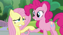 Pinkie helps Fluttershy off the ground S9E15