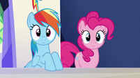 Rainbow and Pinkie look at Rarity S6E15