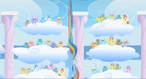 Rainbow flying past the audience S1E16