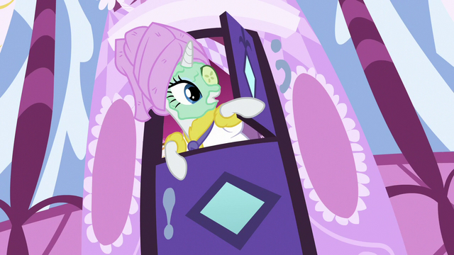 File:Rarity hears Pinkie Pie outside during her spa day S7E11.png
